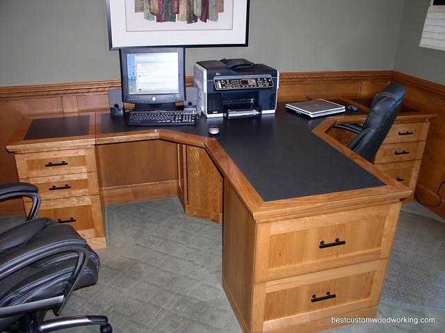 Custom Cherry Partner Desk Two Person Flickr Photo