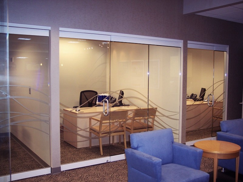 Frosted Glass Vinyl Graphics Privacy Film Impact Signs - Frosted glass conference room table