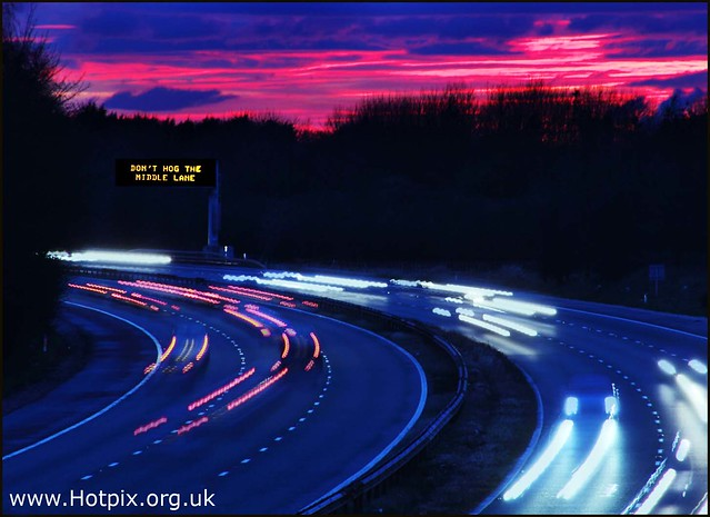 365-275 M56 Approaching Junction 9 At Dusk, Cheshire UK