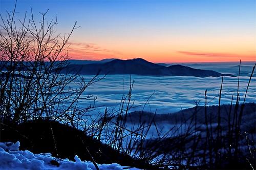 winter sunset usa mountain snow mountains misty fog clouds nikon unitedstates cloudy tennessee unitedstatesofamerica bluehour overlook tellico cherohalaskyway nantahalanationalforest cherokeenationalforest d90 theblueridgemountains unicoimountains theappalachianmountainrange