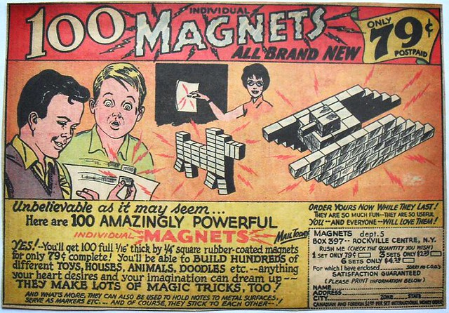 1960s 100 MAGNETS vintage comic book advertisement illustration kitsch toy odd
