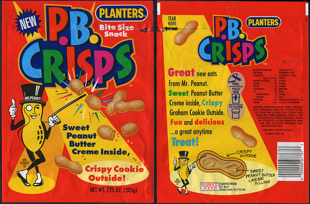 Planters P B Crisps New Snack Package Bag 1992