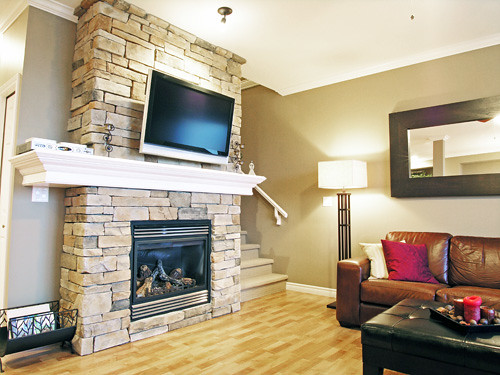 Photo - Floor to ceiling fireplace ...