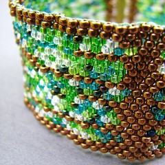 Green and Gold Abstraction Bracelet
