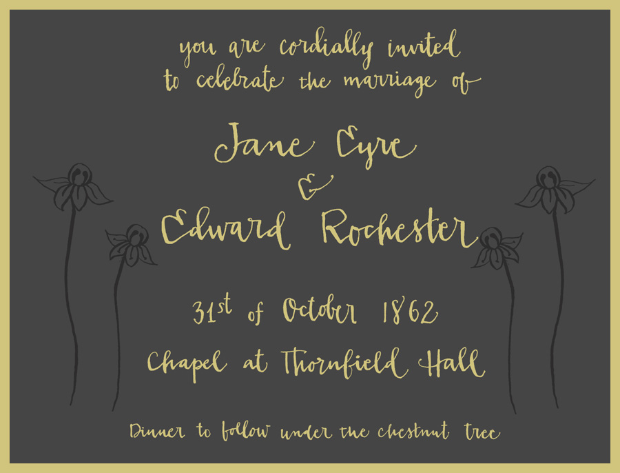 Hand Lettered Invitation For Miss Jane Eyre Fat Orange