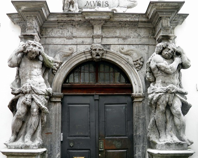 Portal of the Seminary Palace flanked by Hercules statues carved by Angelo Putti, Ljubljana,
