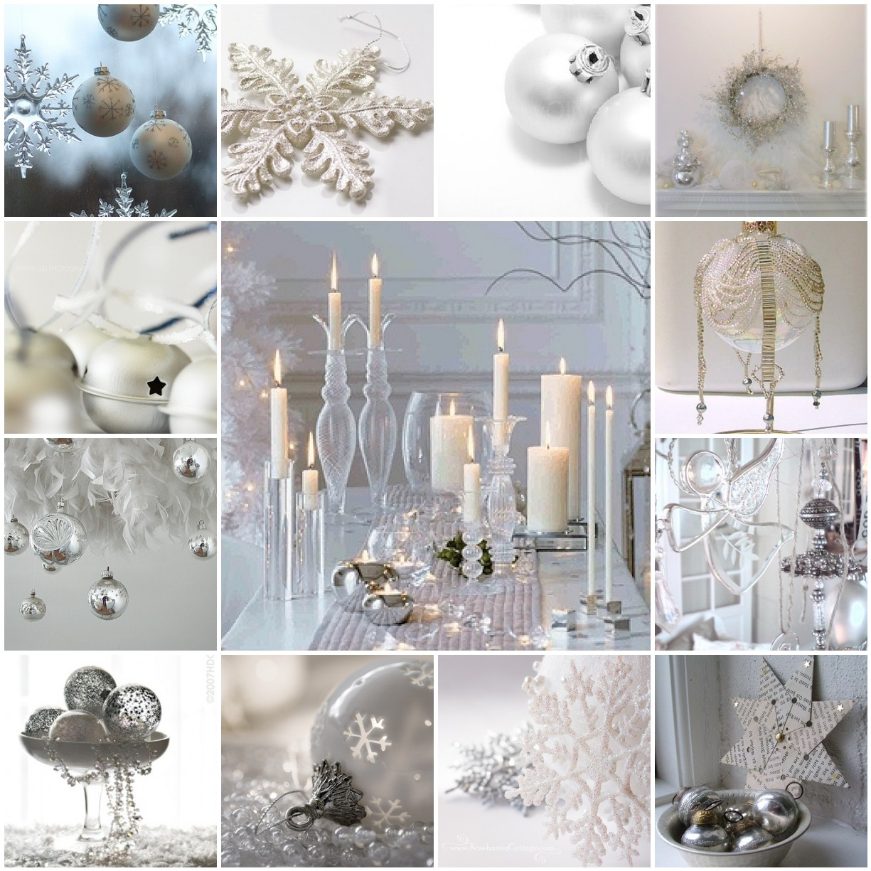 Silver and white christmas table decorations - Silver White Christmas