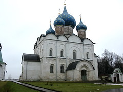 IMG_1440  The Nativity Cathedral in Suzdal.  Constructed 1222-25, upper structure rebuilt 1528.    South view.