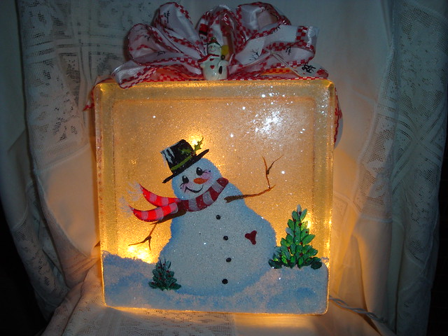 Snowman block light flickr photo sharing for Glass block r value