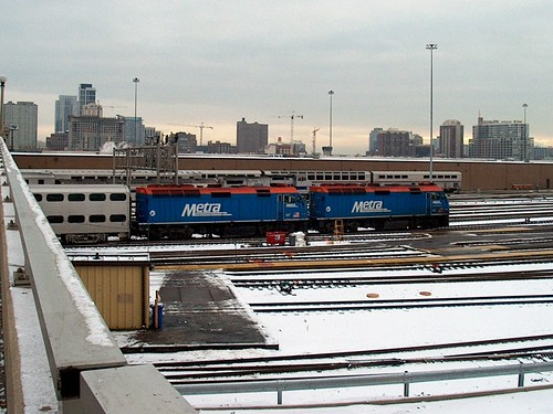 Southbound double headed Metra commuter train departing Chicago Union Station. Chicago Illinois. January 2007. by Eddie from Chicago