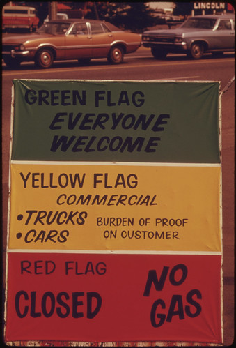 Gasoline Dealers in Oregon Displayed Signs Explaining the Flag Policy During the Fuel Crisis in the Winter of 1973-74...05/1974