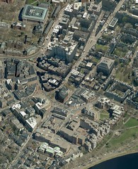 harvard square map viewed from the west in birdseye view
