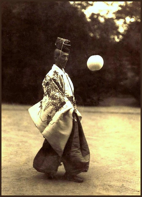 TYPICAL SHINTO PRIEST DOING WHAT COMES NATURALLY in OLD JAPAN