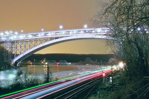 nyc newyorkcity longexposure railroad bridge newyork reflection ice night train geotagged bronx manhattan hudsonriver hdr metronorth henryhudsonbridge lighttrail riverdale harlemriver henryhudson mudpig stevekelley