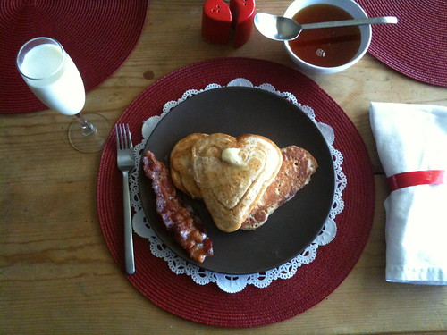 Valentine's Day Pancakes and Bacon