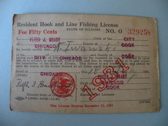 Kostanty gust iwanski 39 s 1931 illinois fishing license for How much is a wisconsin fishing license