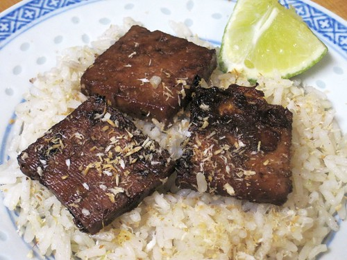 Coconut Lime Tofu atop Coconut Rice and Toasted Coconut