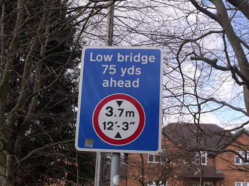 Low bridge 75 yards ahead sign on Bear Road - off Station Road, Henley-in-Arden
