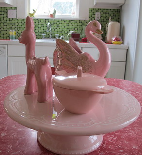 pink ceramics and cakeplate