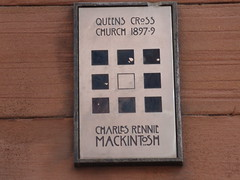 Photo of Charles Rennie Mackintosh and Queen's Cross Church, Glasgow brushed metal plaque