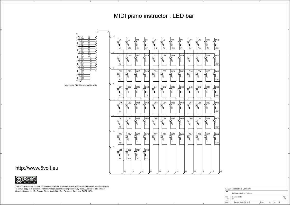midi piano instructor   schematics of the led bar