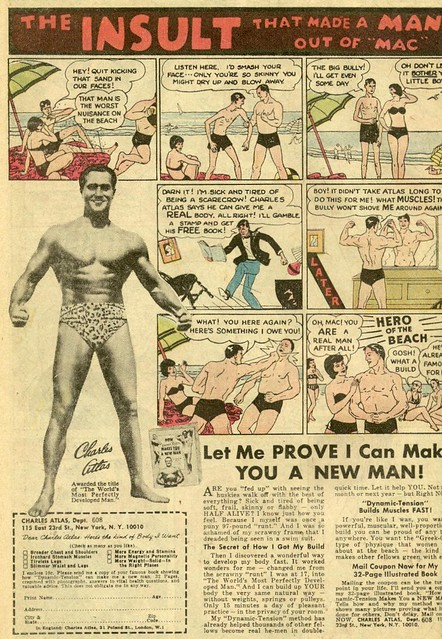 "Famous ""98 pound weakling"" Charles Atlas ad from 1972"