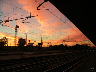 train station at dawn