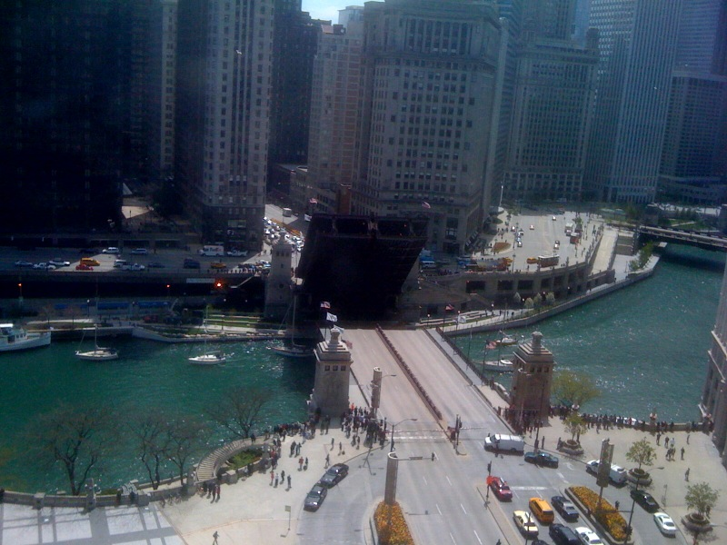 The official start of summer! The Chicago bridges are being raised for sailboats