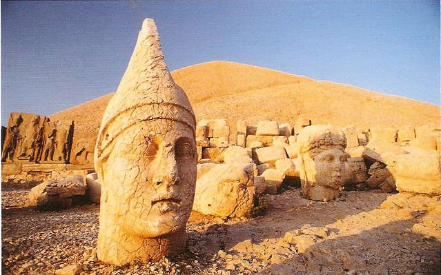 The heads of these statues of Gods have broken off and tumbled to the lower terrace.