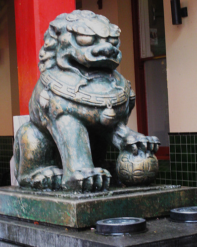 Sydney Chinatown, one of the lions at south end of Dixon St