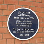London Marylebone Station - blue plaque of Betjeman Centenary