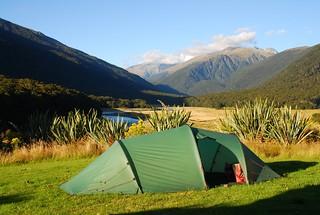 Tent at Cameron Flats, New Zealand