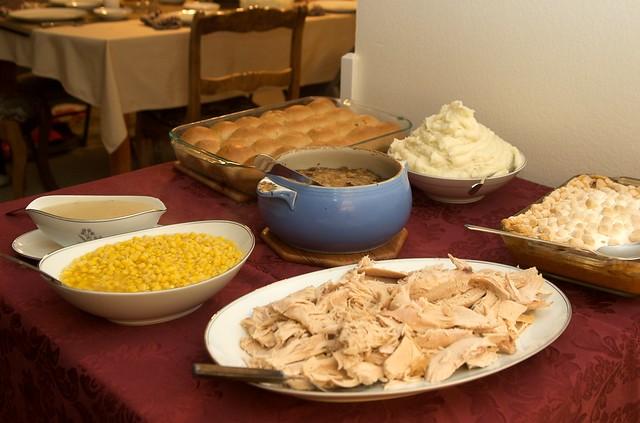 turkey, corn, mashed potatoes, stuffing