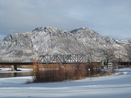 bridge winter snow mountains ice river railway kamloops