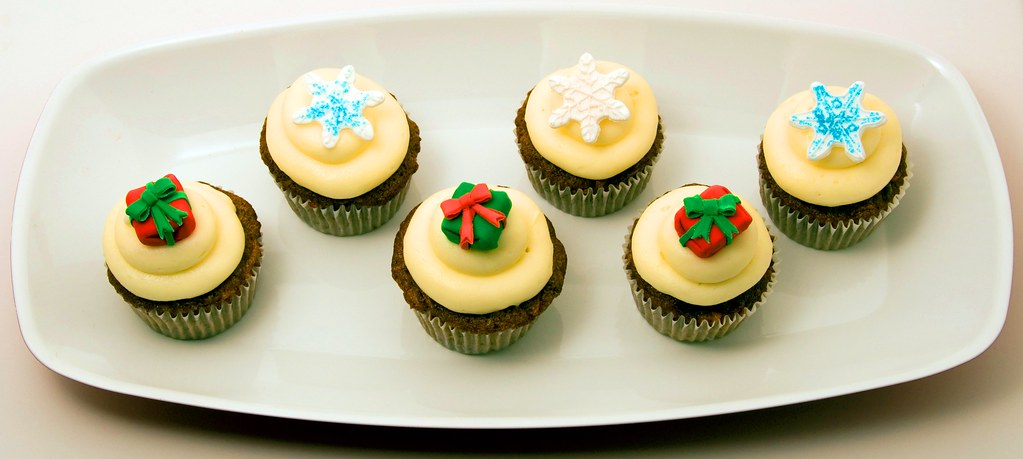 Christmas Cupcakes Gifts and Snowflakes