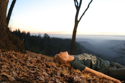 trees girl leaves earth down canyon monica laying monrae01