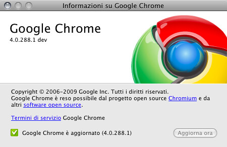 Informazioni su Google Chrome 4.0.288.1: dev