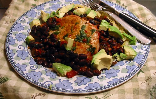 Chops w/ Black Beans & Avocado