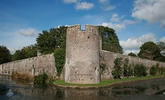 castle, building, ruins, water castle, fortification, waterway, moat,