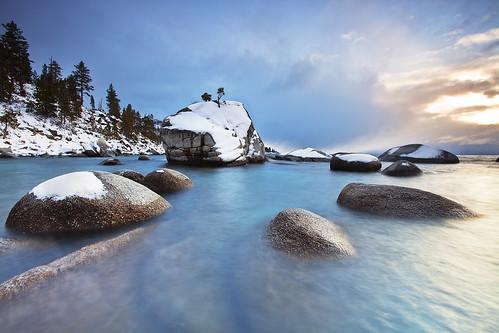 california blue trees winter mountain lake snow rock rocks nevada tahoe laketahoe sierra granite bonsai bonsaitree sierranevada eastshore bonsairock ivansohrakoff