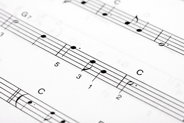 Macro of music sheet of a classical piece