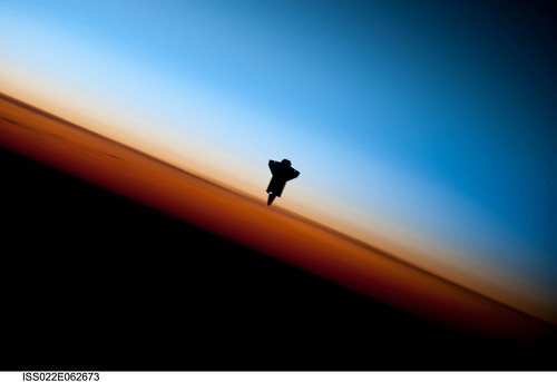 Space Shuttle Endeavour Over Earth (NASA, International Space Station Science, 02/09/10)