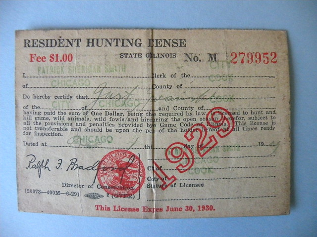 Kostanty gust iwanski 39 s 1929 illinois hunting license for Fishing license illinois