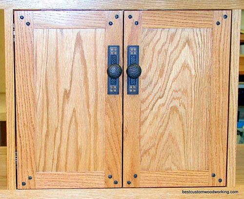 Custom Oak Media Storage Doors (Detailed View).