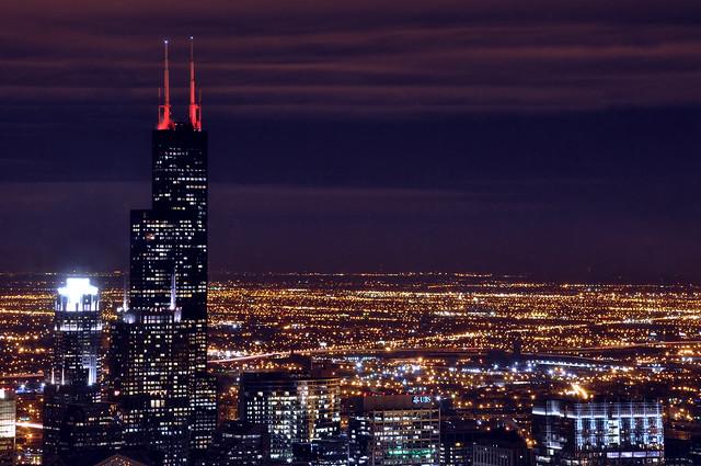 Willis tower at night