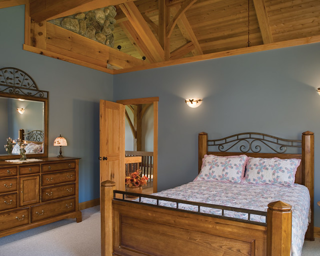 scenic valley view timber frame home master bedroom