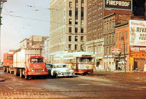 This 1950's era Detroit michigan photograph, was photographed either on the Woodward or gratiot streetcar line toward the end of the line. by Eddie from Chicago