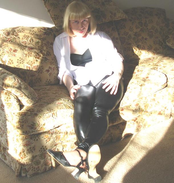 White shirt & leggins in sunlight