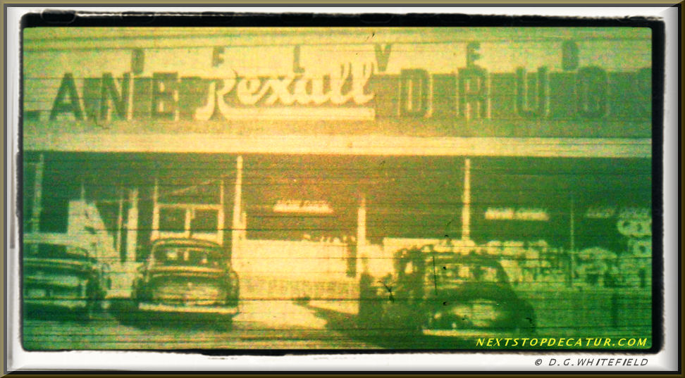 BELVEDERE PLAZA SHOPPING CENTER'S LANE  DRUG STORE  circa 1955 by -WHITEFIELD-