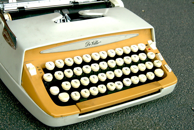 Mustard Yellow Smith Corona DeVille Typewriter